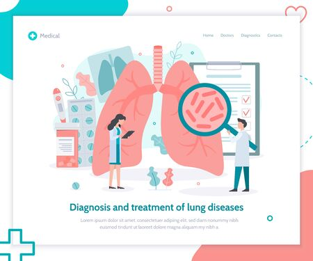 Diagnosis and treatment of lung diseases: tuberculosis, asthma, pneumonias. Lungs health. Landing page template. Medical flat vector illustration.
