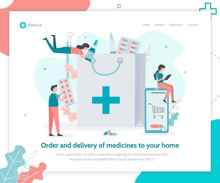 Order and delivery of medicines to your home. Medical flat vector illustration. Landing page template.