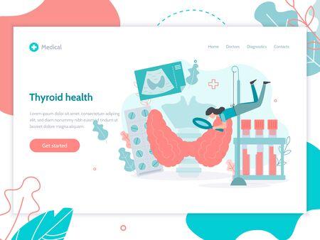Thyroid health. Web banner design template. Medical flat vector illustration. Vektorgrafik