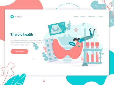 Thyroid health. Web banner design template. Medical flat vector illustration. Иллюстрация