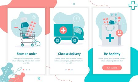 Online pharmacy. Home delivery drugs. Onboarding screens template for mobile applications and websites. Medical flat vector illustration. Иллюстрация