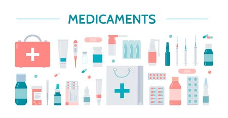 Medicaments icons. Pharmacy, medicine and healthcare concept. Healthcare symbols isolated on a white background. Flat vector illustration.