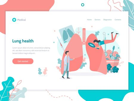 Lungs health. Web page design template. Medical flat vector illustration.