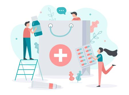 Online pharmacy. Order and delivery of medicines to your home. Pharmacists get the drugs in the package. Medical concept. Flat vector illustration.