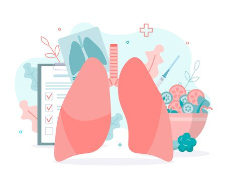 Prevention of lung diseases, proper nutrition, fluorography, vaccination. Lungs health. Medical concept with tiny people. Flat vector illustration.