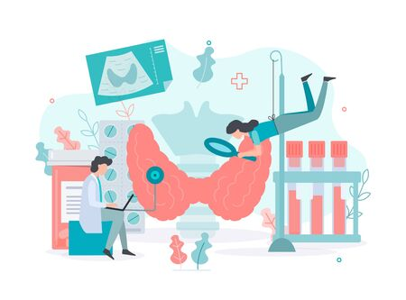 Diagnostics and treatment of thyroid diseases.  Thyroid  health concept Medical concept with tiny people. Flat vector illustration. Иллюстрация