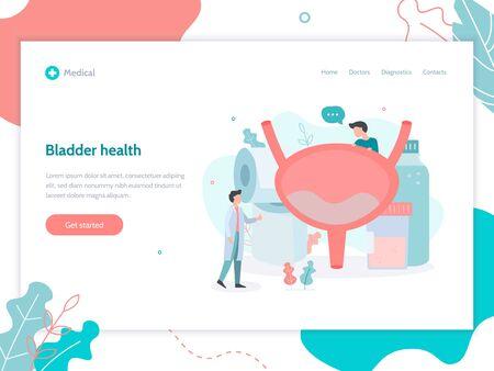 Bladder health. Medical flat vector illustration. Modern web banner.