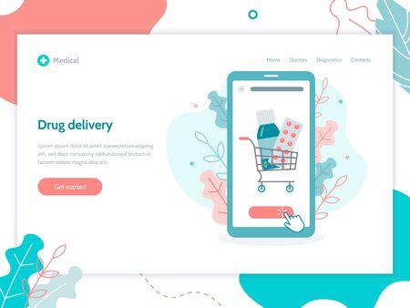 Order medicines online through the app. Home delivery drugs. Web banner design template. Medical concept. Flat vector illustration.