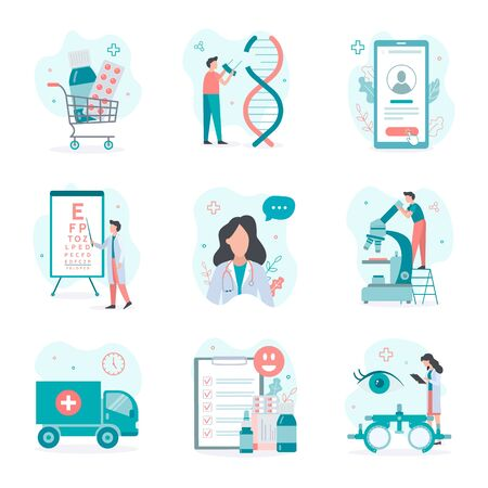Set medical vector illustrations. Flat style. Ideal for web site and mobile app.