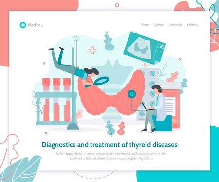Diagnostics and treatment of thyroid diseases. Landing page template. Medical flat vector illustration.