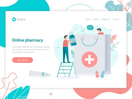 Online pharmacy. Home delivery drugs. Medical flat vector illustration. Web page design template.