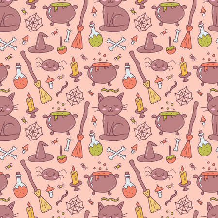 Halloween seamless pattern with witch accessories. Black cat, broom, cauldron, potion and others. Cute cartoon hand drawn. Kawaii style. Vector illustration. 版權商用圖片 - 157743152