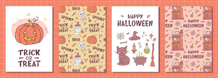 Set of kawaii greeting card for Halloween with punpkin, witch things and hand lettering. Cute cartoon doodle hand drawn. Kawaii style. Vector illustration.