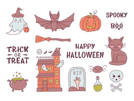 Happy Halloween design elements. Cute cartoon hand drawn. Kawaii style. Vector illustration.