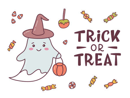 Funny Halloween card with cute ghost and hand lettering caption Trick or treat. Cute cartoon banner with hand drawn elements. Kawaii style. Vector illustration.