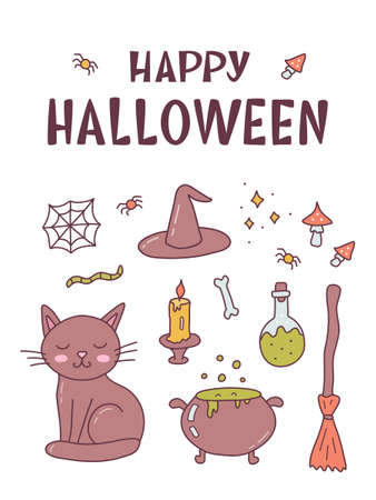 Funny card with witch things and hand lettering caption Happy Halloween. Cute cartoon banner with hand drawn elements. Kawaii style. Vector illustration. 版權商用圖片 - 157722664