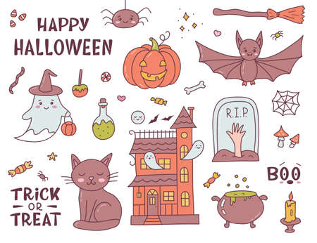 Cute set Halloween illustrations. Funny cartoon doodle hand drawn. Kawaii style. Vector illustration.