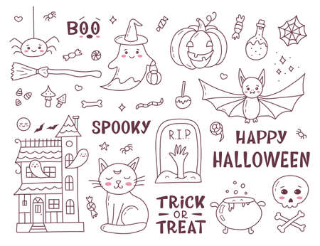 Set of Halloween doodle. Cute cartoon hand drawn. Kawaii style. Vector illustration. 向量圖像