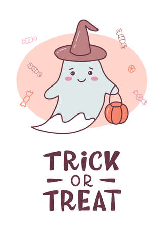 Funny Halloween card with cute ghost in witch's hat and hand lettering caption Trick or treat. Cute cartoon banner with hand drawn elements. Kawaii style. Vector illustration.
