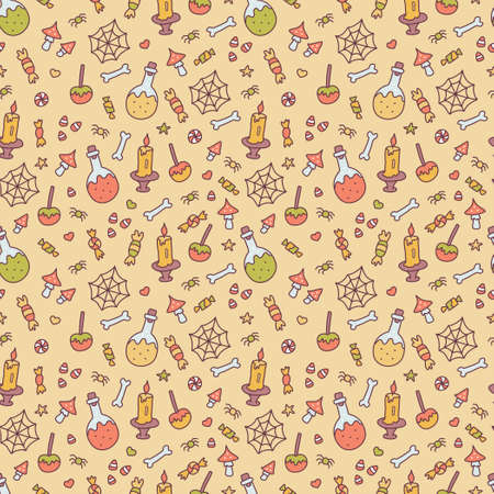 Halloween seamless pattern with poison, sweets, web, spiders and others. Cute cartoon hand drawn. Kawaii style. Vector illustration.