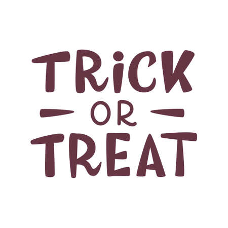 Trick or treat halloween hand lettering isolated on white background. Vector illustration. 向量圖像