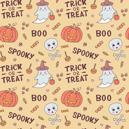 Halloween seamless pattern with ghosts, scary pumpkins, skulls, sweets and hand lettering. Cute cartoon hand drawn. Kawaii style. Vector illustration.