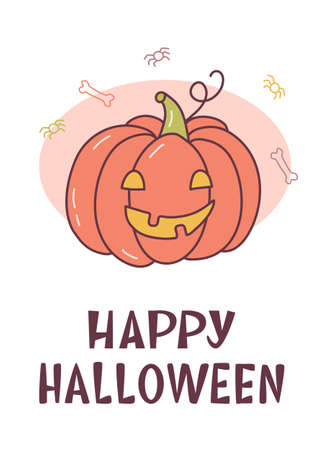 Funny card with spooky pumpkin and hand lettering caption Happy Halloween. Cute cartoon banner with hand drawn elements. Kawaii style. Vector illustration.