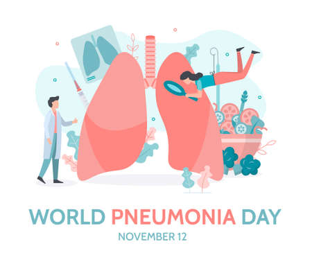 World Pneumonia Day banner. 12 November. A team of doctors checks the health of the lungs. Flat vector illustration. 向量圖像