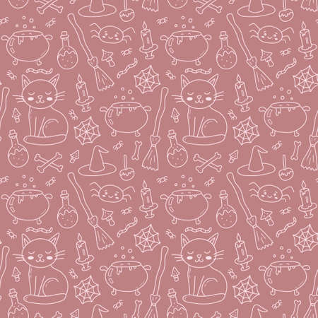 Halloween seamless pattern with white line witch accessories. Isolated on brown background. Cute cartoon hand drawn. Kawaii style. Vector illustration.