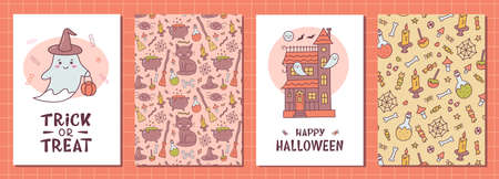 Set of kawaii greeting card for Halloween with ghost, haunted house and hand lettering. Cute cartoon doodle hand drawn. Kawaii style. Vector illustration.