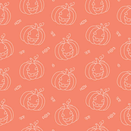 Halloween seamless pattern with white line funny pumpkins. Isolated on orange background. Cute cartoon hand drawn. Kawaii style. Vector illustration.