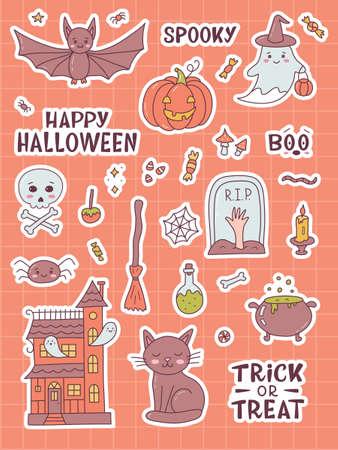Funny Halloween sticker pack. Cute cartoon hand drawn. Kawaii style. Vector illustration.