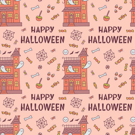 Halloween seamless pattern with haunted house, sweets and hand lettering. Cute cartoon hand drawn. Kawaii style. Vector illustration.