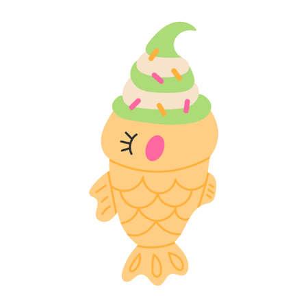 Taiyaki fish ice cream Vetores