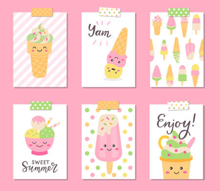 Ice cream cards set 向量圖像