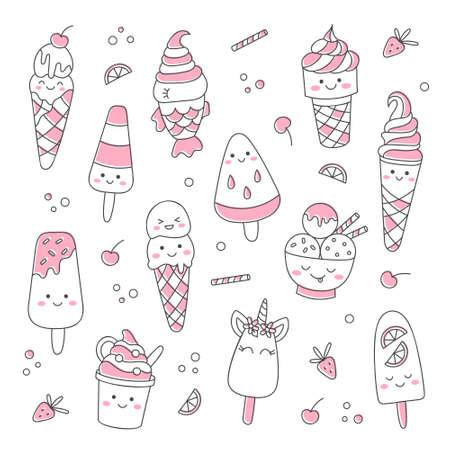 Cute doodle ice cream 向量圖像