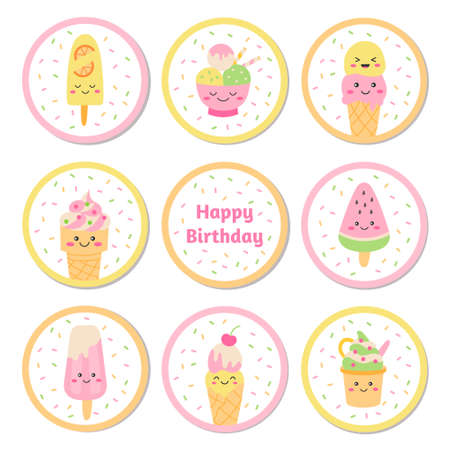 Ice cream cupcake toppers 向量圖像