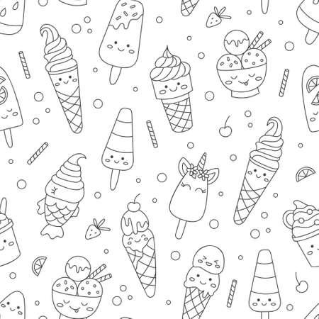 Monochrome ice cream pattern 向量圖像