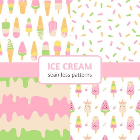 Ice cream patterns set