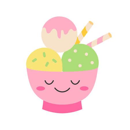 Bowl with ice cream 向量圖像