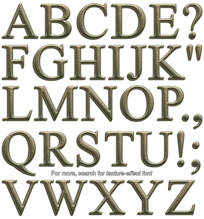 Serif display font, uppercase, rendered with bumpy hammered bronze metal texture-effect on white background Stock Photo