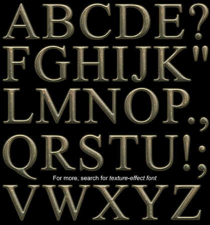 Serif display font, uppercase, rendered with bumpy hammered bronze metal texture-effect on black background Stock Photo