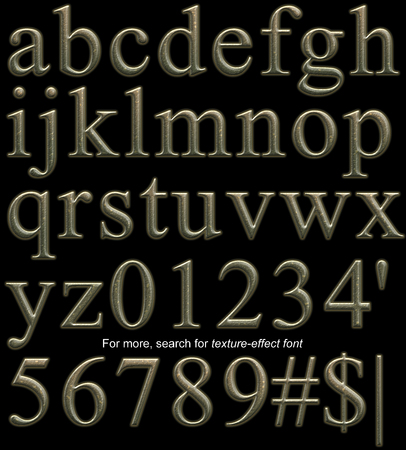 Serif display font, lowercase and 10 digits, rendered with bumpy hammered bronze metal texture-effect on black background Stock Photo