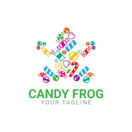 Abstract shape of frog, made from candies, for candies industries