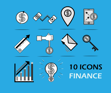 10 icons finance money business payment dollar