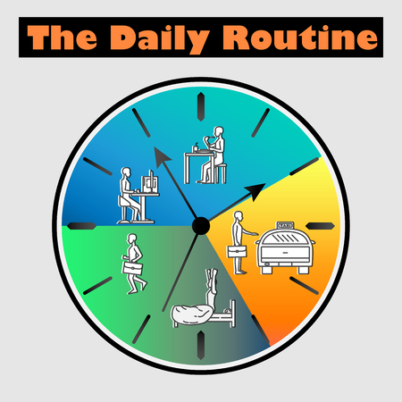 Vector flat illustration - Life schedule of Daily routine with sample character officeman on the clock 矢量图片