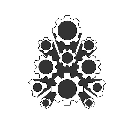 vector icon set collection cogwheel gear on white background Ilustracja