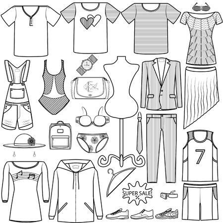 vector icon - mode set mannen en vrouwen kleding pak tas ondergoed schoenen overhemd hoed pet productcategorie op witte achtergrond Vector Illustratie