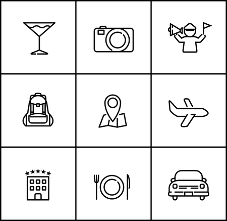travel vector line icons flat style on white background