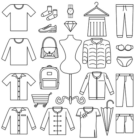 vector line icon set - fashion sale symbol Product Category on white background